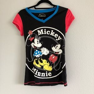 Disney Black Mickey and Minnie Mouse Shirt Sz S